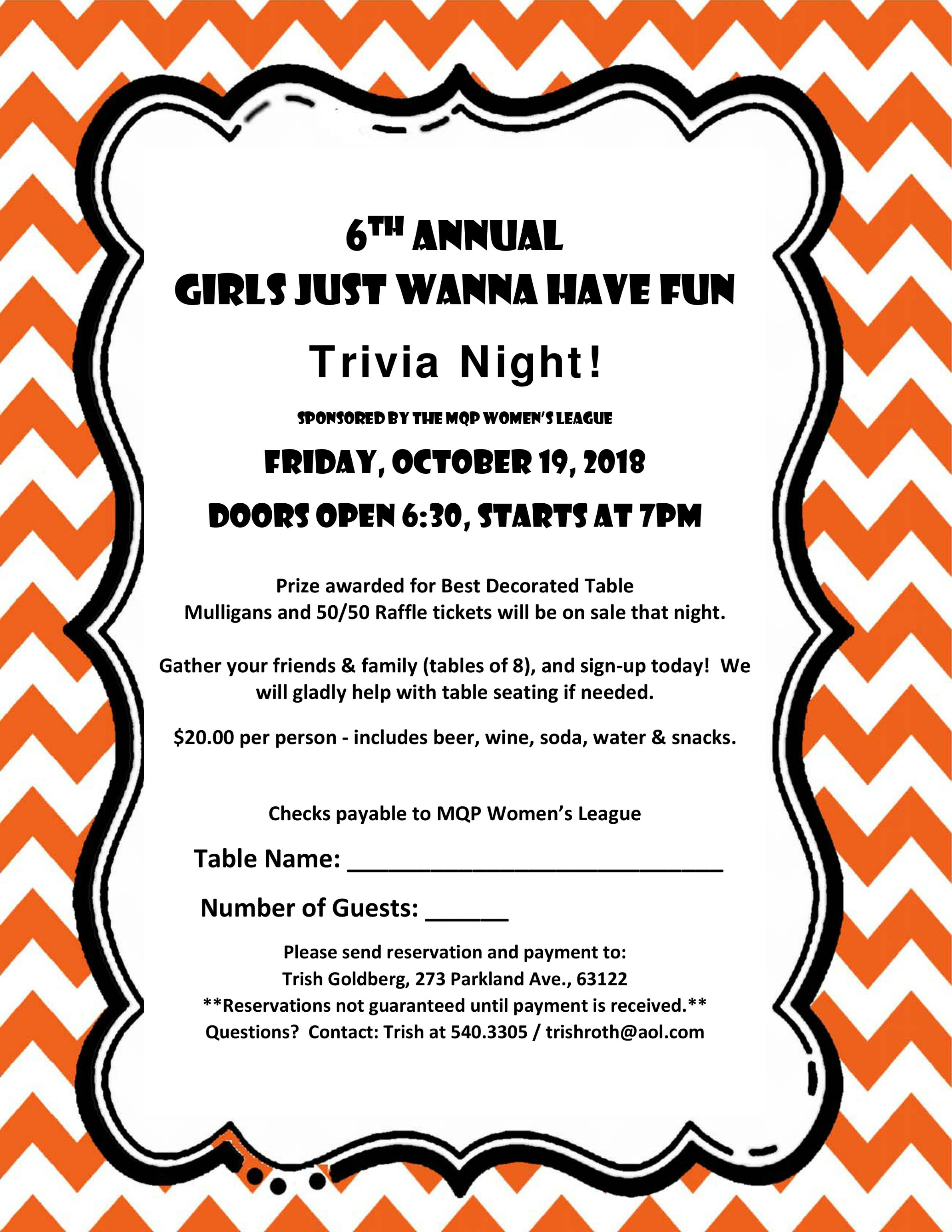 It's Not Too Late to Join Women's League for Trivia Night